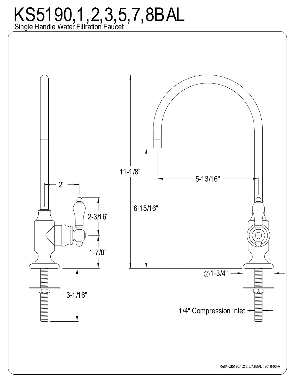 Kingston Brass KS5192BAL Heirloom Single-Handle Water Filtration Faucet Polished Brass