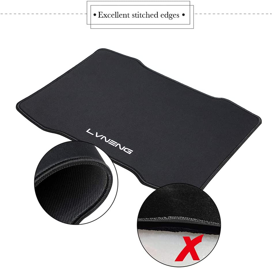 LVNENG Premium-Textured Surface and Non-Slip Rubber Base Mouse Pad for Laptop 12.5/×10.5/×0.2 Inches Mouse Pad with Stitched Edges Computer/&PC Black