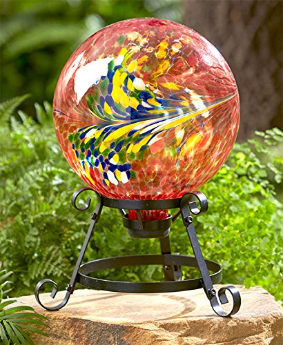 The Lakeside Collection Colorful Glass Ball on Stand - Orange