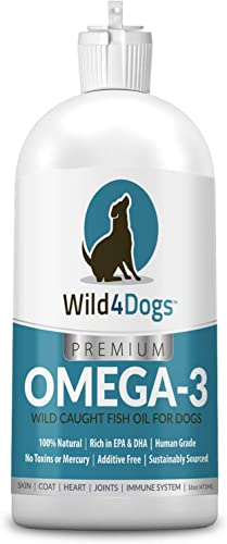 Premium Omega 3 Fish Oil for Dogs – Promotes Healthy Coat, Skin, Heart, and Eases Joint Pain – Omega 3 for Dogs is All-Natural, Nutrient Rich, Wild Caught – Dog Fish Oil Supplement