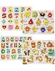 FancyWhoop Rompecabezas de Madera Puzzle Clavijas Puzzles Conjunto de 4 Alfabeto, Número, Animales y Fruta Puzzles para niños pequeños Juguete Educativo de Multicolor para Aprendizaje