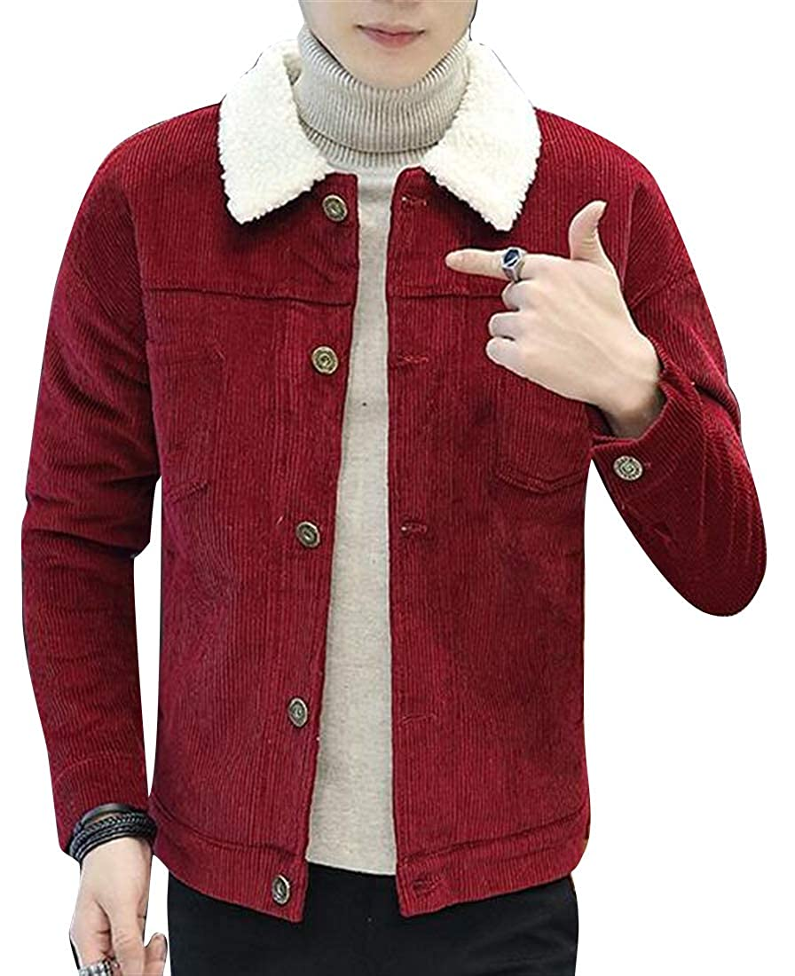 Jotebriyo Mens Corduroy Warm Faux Fur Lined Fall Winter Denim Jacket Coat