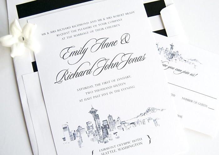 Amazon Com 10 Seattle Skyline Wedding Invitations Rsvp Cards And