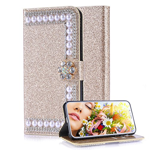 Aearl Huawei P20 Diamond Wallet Case for Women,for Huawei P20 Shiny Gold Cover,Luxury Fashion Glitter Sparkle Bling Crystal Rhinestone Flower Magnetic Buckle Closure Card Holder Leather Case