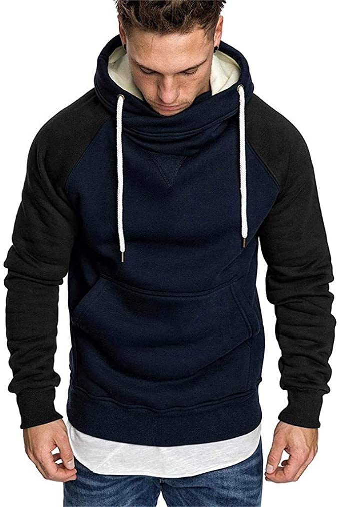 SIOPEW Kapuzenpullover Herren Mit Kapuze Winter Basic Style Sweatshirt Hoher KäNguru Tasche Gerippte ÄRmel Und AbschlussbüNdchen Baumwolle Sweatjacke