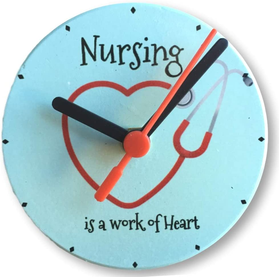 Amazon Com Banberry Designs Nurse Wall Or Desktop Clock Nursing Is A Work Of Heart Quote Heart Stethoscope Design 4 25 Inches Diam Home Kitchen