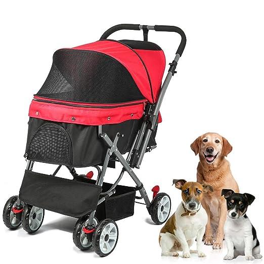 JIGAN Cochecito para Mascotas, Cochecito con Jaula para Perros de ...