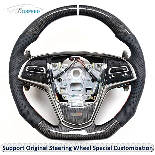 Bospeed Cadillac-ATS-V-SW Carbon Fiber Leather Customized Steering Wheel with shift paddles for Cadillac ATS