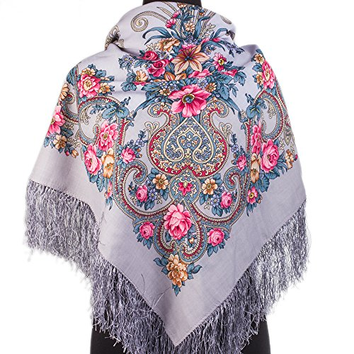 Rococo 100% Wool Russian Shawl with Silk Fringe 49.2x49.2'' (125x125 cm) Light Blue