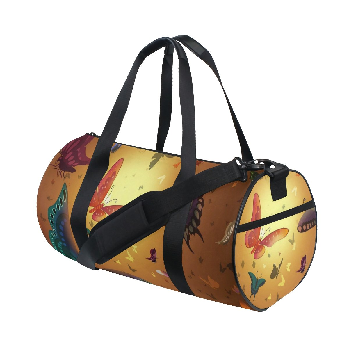 Butterflies Yellow Orange Lightweight Canvas Sports Travel Duffel Yoga Gym Bags