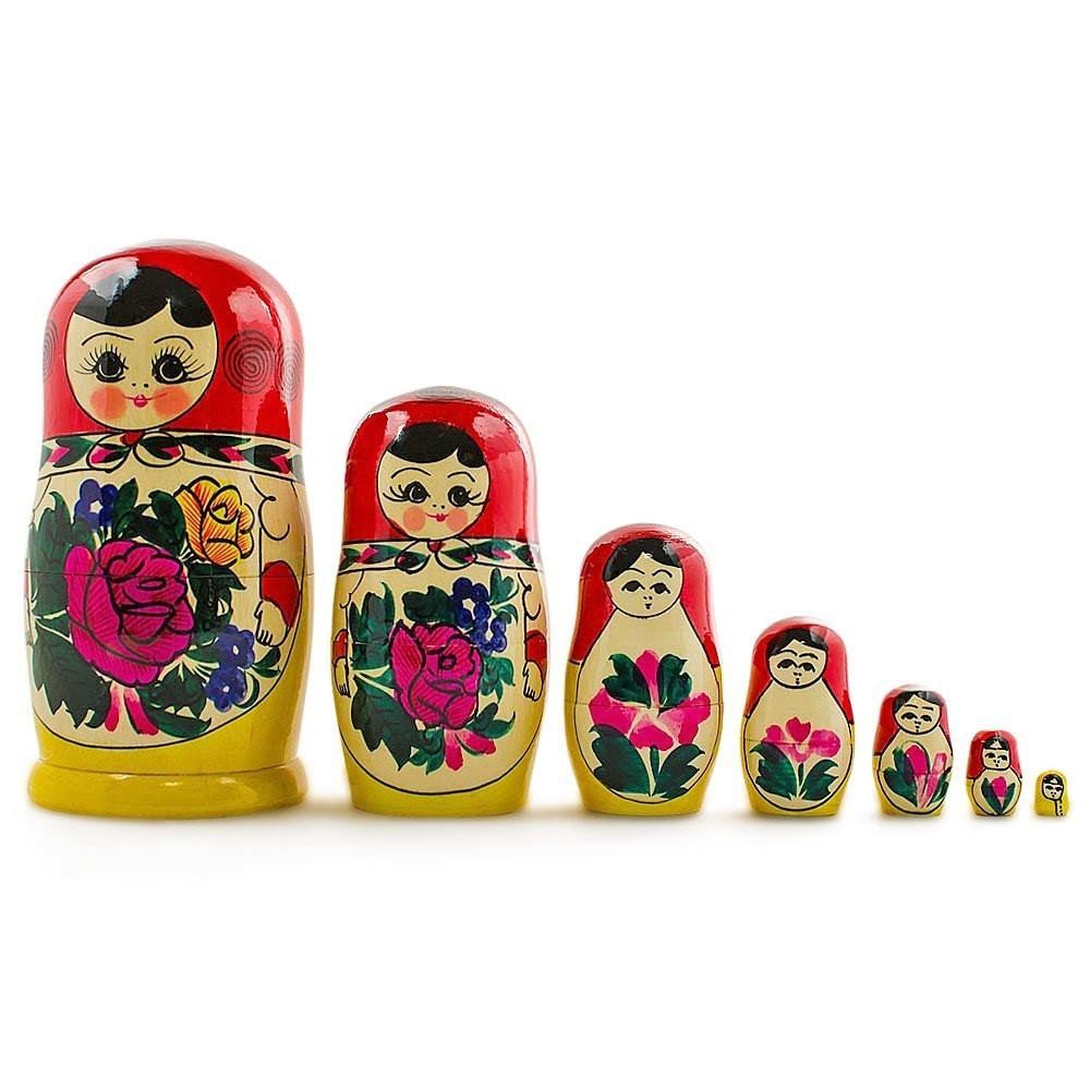 7'' Set of 7 Semenov Traditional Hand Painted Wooden Matryoshka Russian Nesting Dolls