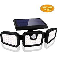 BLOOMWIN Luz Solar Exterior con Sensor de Movimiento Foco Solar Exterior 3 Cabezales 3 Modos 74 LED 360º lluminación…
