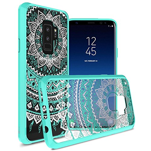 CoverON Hard Slim Fit ClearGuard Series for Samsung Galaxy S9 Plus Case, Teal Mandala Design