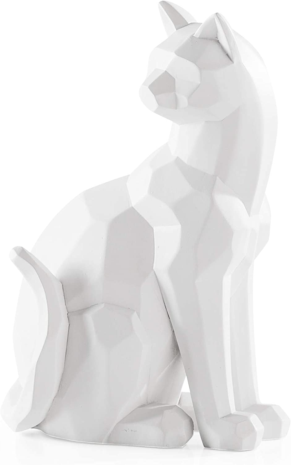 Torre & Tagus Carved Angle Sitting Cat Decor, White