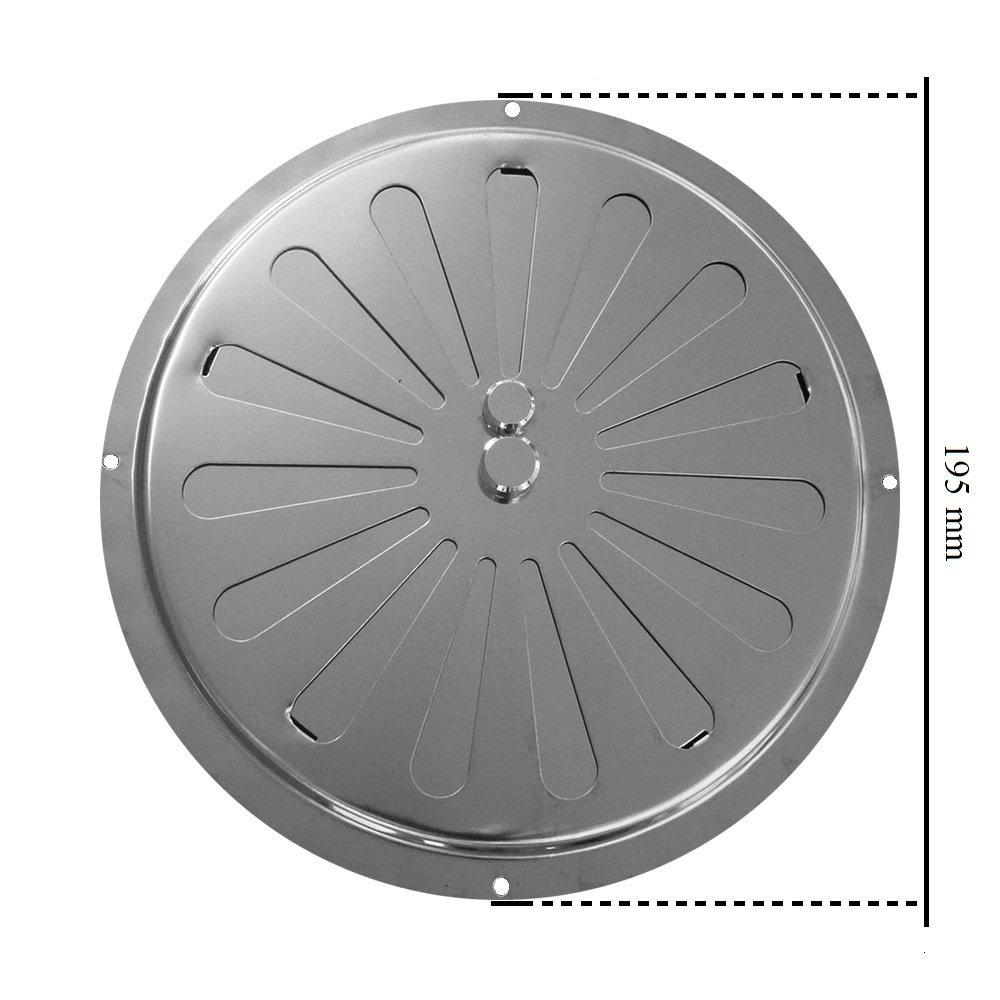 Ventilaci/ón de aire ajustada Inox Circular con di/ámetro de 7.8 pulgadas Ci perfil bajo Ventilaci/ón de ventilaci/ón circular Acero inoxidable no magn/ético de 19,5 cm de di/ámetro 195 mm parrilla circular regulada