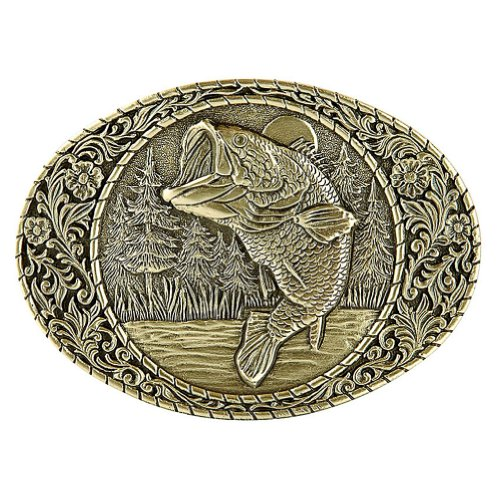 Large Mouth Bass Brass Belt Buckle Western Frame