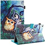 UUcovers All-New Amazon Fire HD 10 Tablet (7th Generation,2017 Release) - Slim Folio Stand Wallet Cover with Auto Wake/Sleep Smart Protector for Fire HD 10.1 Inch Tablet, Oil Painting Owl