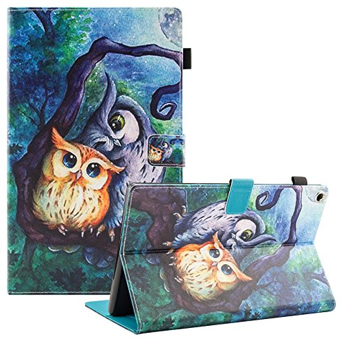 UUcovers Case for Amazon Fire HD 10 Tablet (7th Generation, 2017), Smart Folio Stand PU leather Cover Wallet with Card Pencil Holder [Auto Wake/Sleep] for Fire HD 10.1 Inch Tablet, Oil Painting Owl