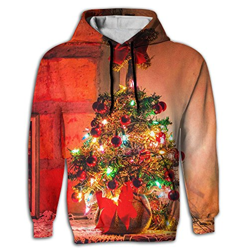 Maypu Lighted Christmas Tree Mens Pullover Hoodie With Pocket Glacier Christmas Tree