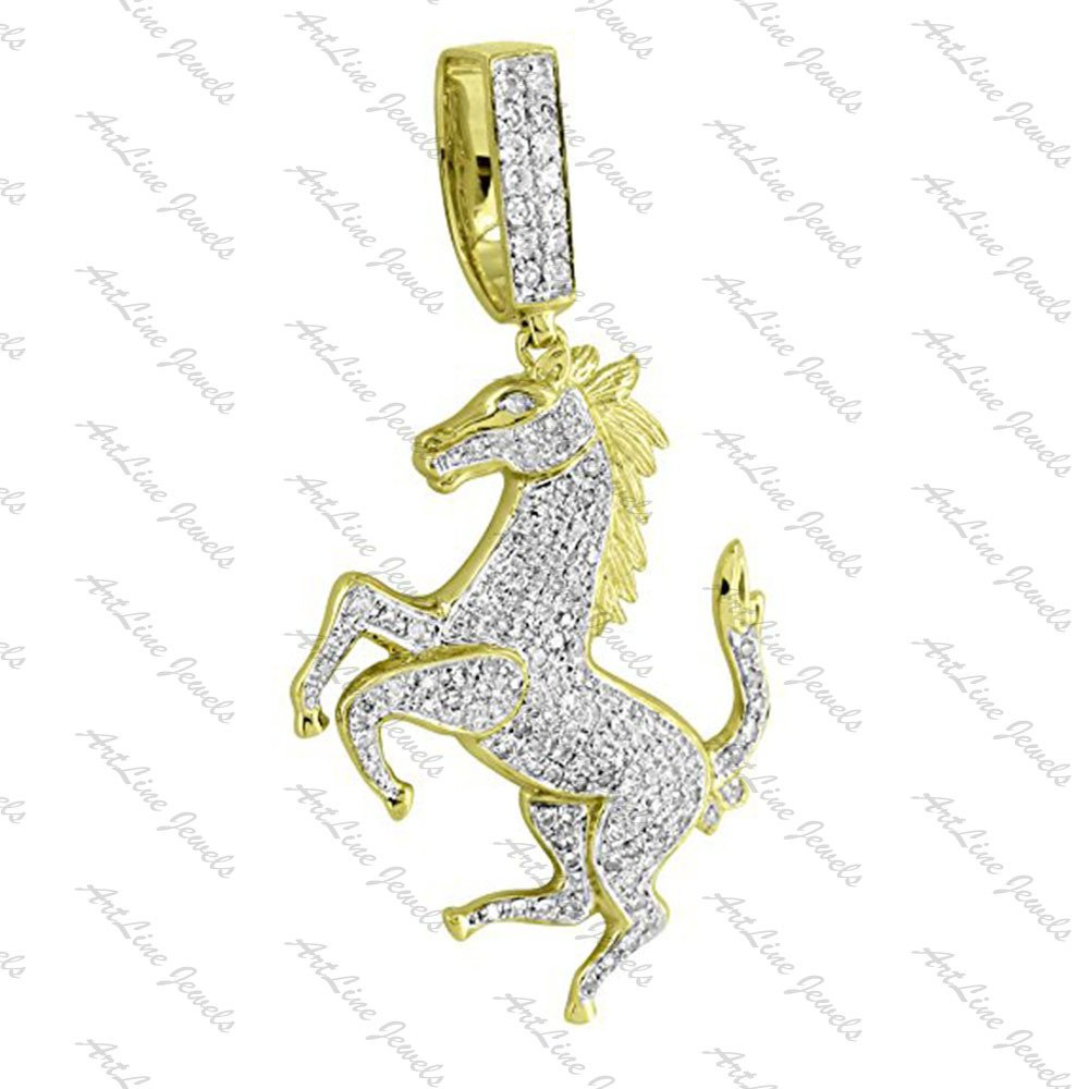 ArtLine Jewels 14k Yellow Gold Finish Round Cut Diamond Ferrari Horse Pendant With FREE Long Chain