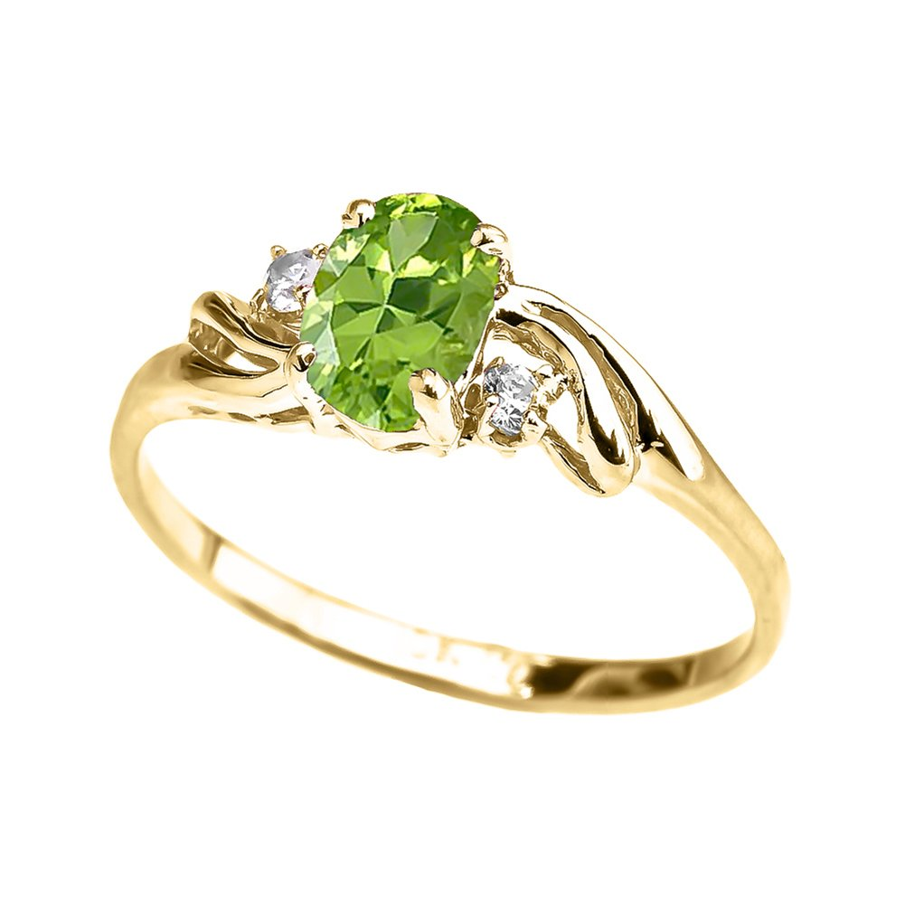 Exquisite 14k Yellow Gold Oval-Shaped August Birthstone with White Topaz 3-Stone Proposal Ring (Size 8) by Dainty and Elegant Gold Rings