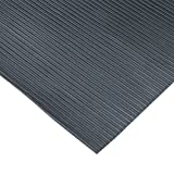 Rubber-Cal 03_167_W_RC_20 Ramp Cleat Non-Slip Outdoor Rubber Floor Mats, 1/8'' Thick x 3' x 20', Black