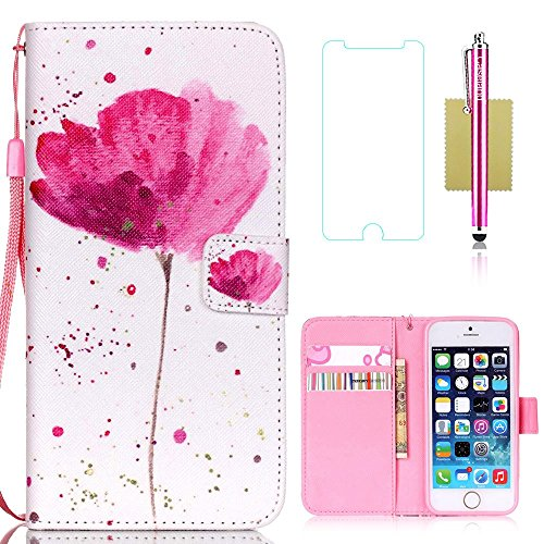 iPhone 5S Case,iPhone 5S Wallet Case,5S Case,CASELAND Flip Cover Wallet PU Leather with Stand + Lanyard Case for iPhone 5 5S SE- Lotus