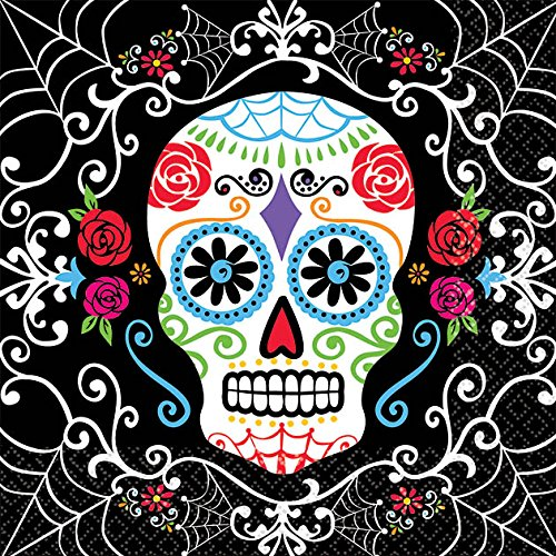 Amscan Day of The Dead Sugar Skull Disposable Beverage Paper Napkins (Pack of 36), Multicolor, 5