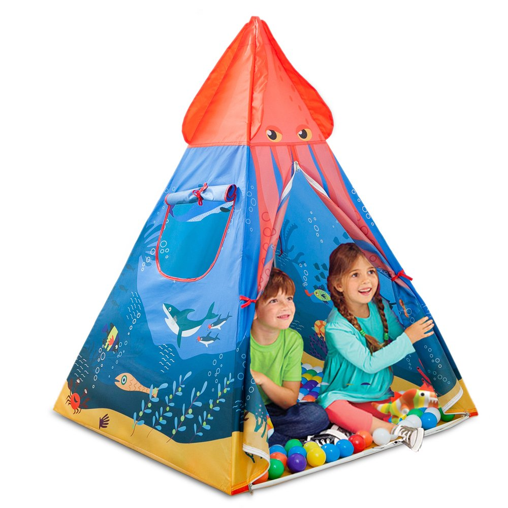 OJIA Ocean Series Kids Play Tent Child Castle Playhouse, Foldable Pop up Play Tent/House Toy Carrying Case Indoor & Outdoor Play, Great Gifts 1-8 Years Old