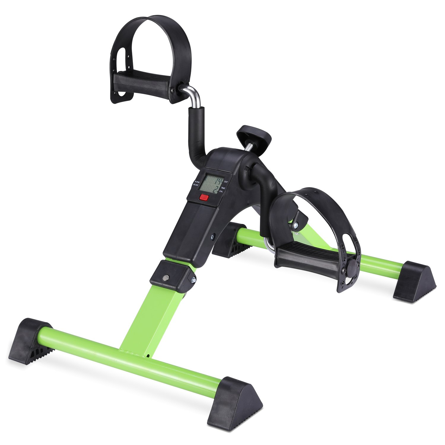 MOMODA Stationary Cycle Pedal Exerciser Desk Exercise Bike with LCD Monitor Foldable Black Green