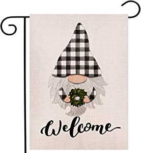 Welcome Gnome Garden Flag,Summer Magnolia Wreath Yard Garden Flag,Buffalo Check Plaid Gnomes Vertical Double Sided Farmhouse Burlap Outdoor Flag 12.5 x 18 Inch