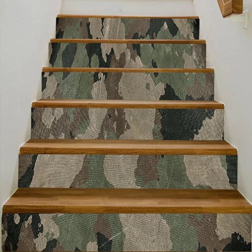 vanfan 3D Creative old dirty camouflage fabric DIY Refurbished Stairs Stickers Removable Waterproof Stairs Mural(39.3