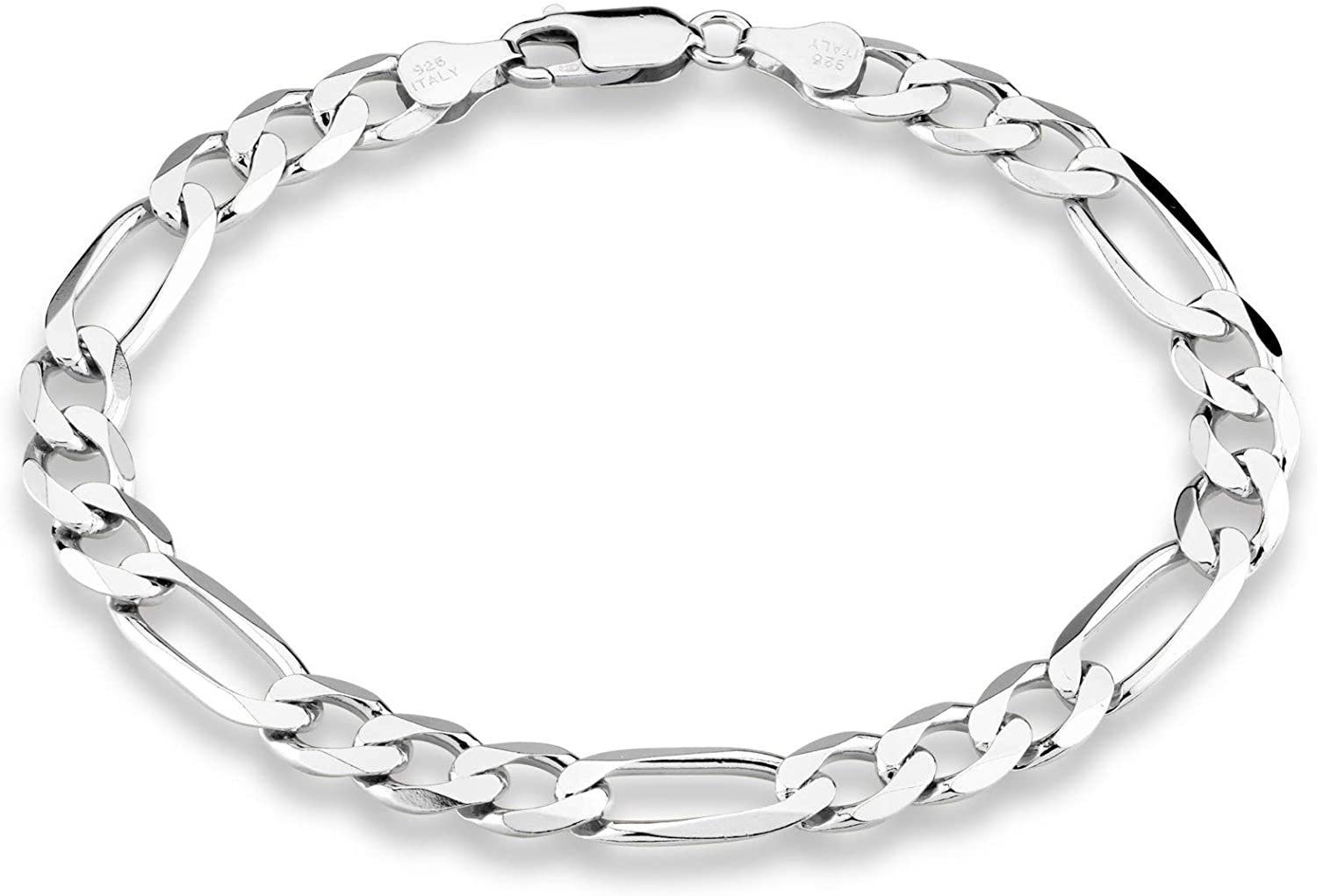 Miabella 925 Sterling Silver Italian 7mm Solid Diamond-Cut Figaro Link Chain Bracelet for Men, 7, 7.5, 8, 8.5, 9 inch