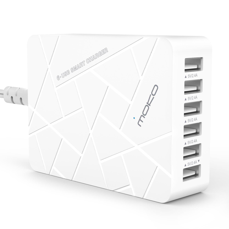 MoKo 6-Port USB Charger, Desktop Charging Station for Apple iPhone 7/7 Plus/iPad Air 2/Mini 4/Pro 9.7'/12.9', iPad Pro 11/12.9 2018, Samsung Galaxy S7/S6/S6 Edge/Edge+/Note 5, WHITE 3365623