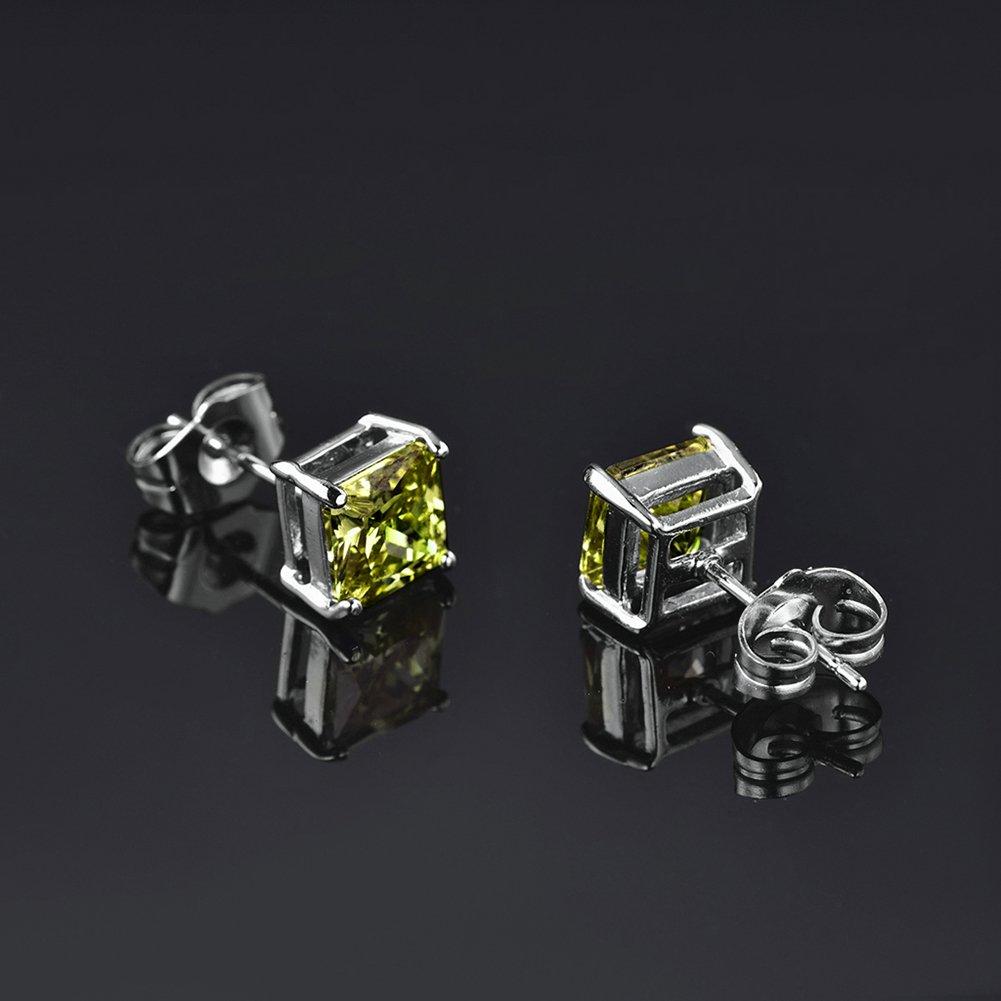 18K White Gold Plated Square Princess Cut Peridot Crystal 7Carat Cubic Zircon Pierced Stud Earrings Trendy Jewelry