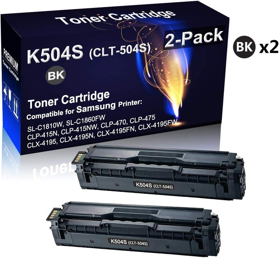 Black Compatible Black Toner Cartridge Replacement for Samsung CLT-K504S CLT504S K504S Toner Cartridge use for Samsung SL-C1810W SL-C1860FW CLX-4195 CLP-415NW CLP-470 Printer 2-Pack High Yield