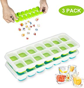 Ice Cube Trays 3 Packs, LivingAid Silicone Ice Cube Tray with Lid Super Easy Release Ice Cube Molds Stackable silicone ice tray BPA Free for Baby Food, Cocktail, Whiskey, Chocolate (3)