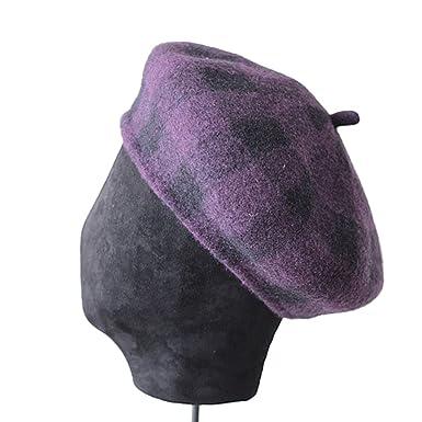 669989da37e Amazon.com  Wool Beret Women Purple Hats Tweed Painters Cap Ladies  Checkered Knitted Vintage Autumn Winter French Artist Hat Red Purple Berets  56-58 cm  ...