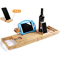 Utoplike Luxury Bamboo Bathtub Caddy and Bathtub Tray with Extending Sides,The Distinctive Design is Closer to Your Life