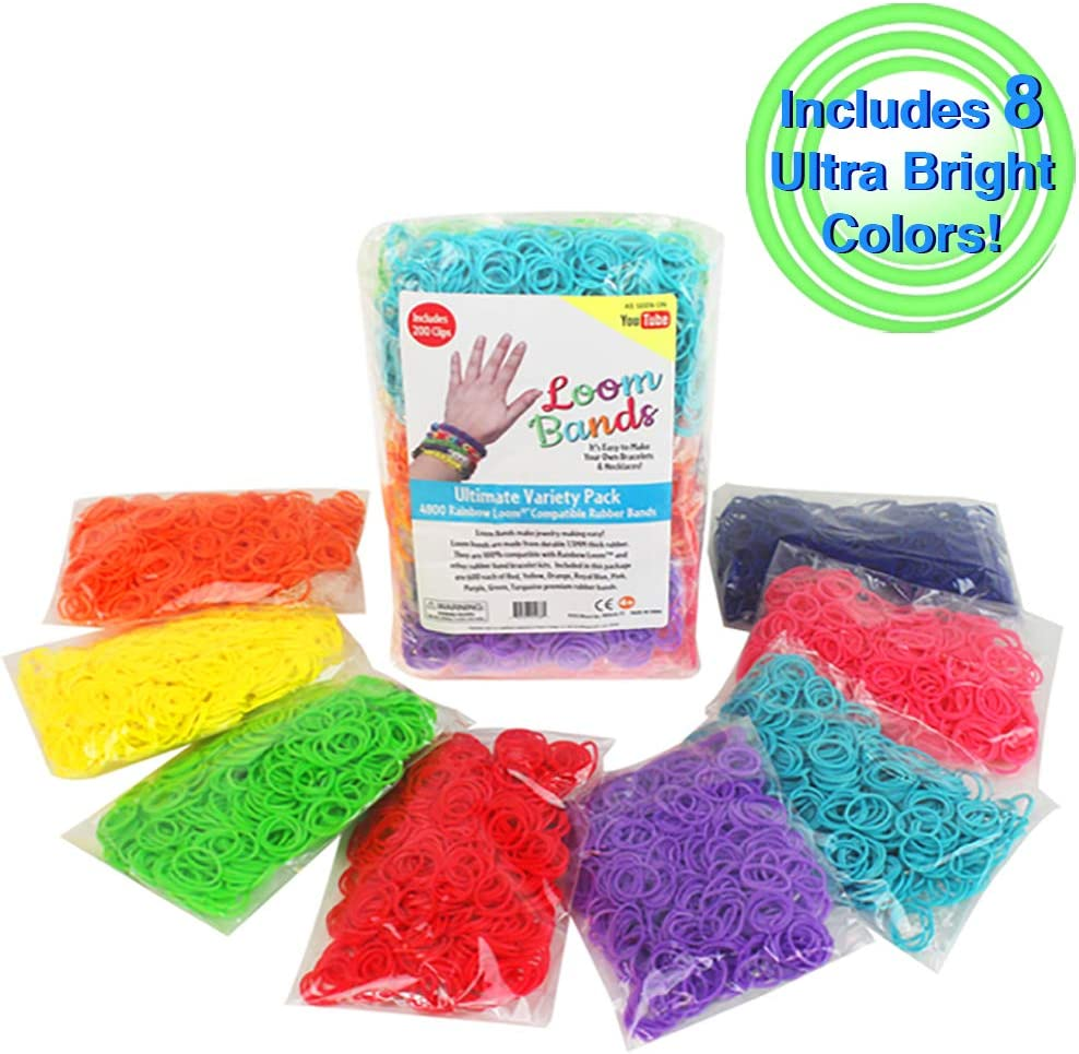 Loom Bands Mix of Neon Tie Dye Candy Colours 5 packs of Assorted Loom Bands