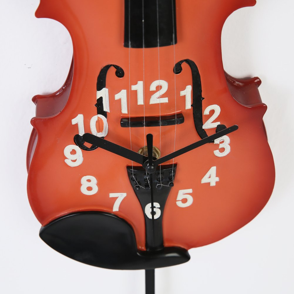 Giftgarden Vintage Wall Clock Guitar Music Gifts with Swing Pendulum Note Decor Bedroom Living Room Clocks for Guitars Players Sainthood SN15213