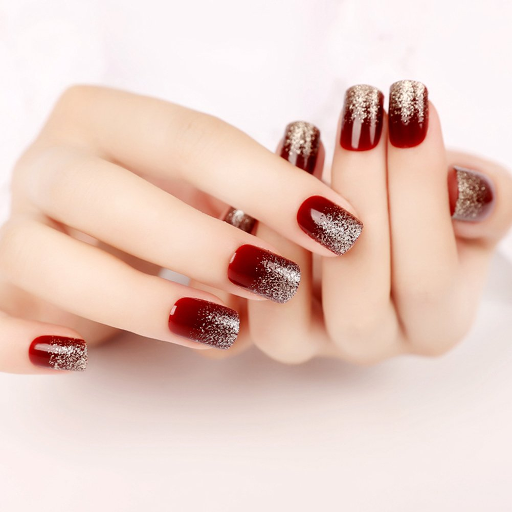YUNAI Deep Burgundy Gradient Glitter Fake Nails Art Salon Manicure Beauty Nail Patch False Nails with Design for Women French Full Nail Tips