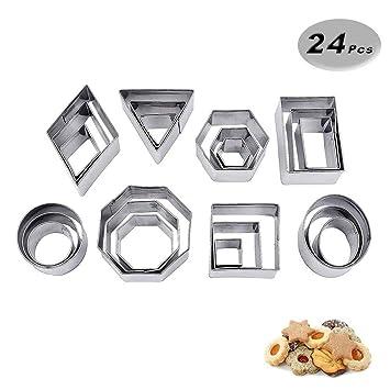 VOARGE Mini geométrico Cookie Set de moldes para Galletas, de 24 Piezas Metal - Juego