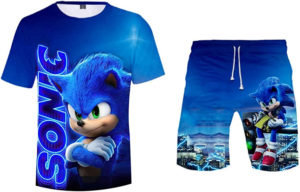 Blue T-Shirt,Blue Pants Short Sleeves Top Shirt for Boys Teens