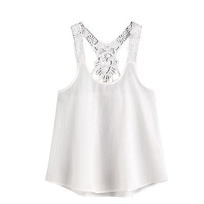 Prettymenny S~XL Lace Vest Women Top Sleeveless Casual Tank Blouse Summer Tops T-Shirt