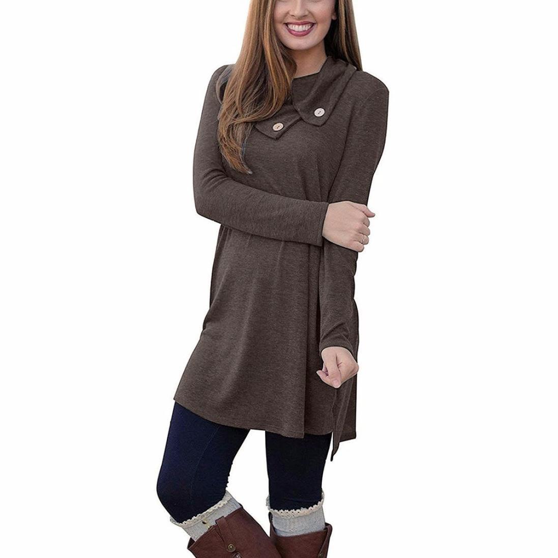 Familizo Women Lapel Neck Button Long Sleeve Loose Dress Blouse Shoes Sides Slit Shirt Dresses