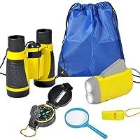 6Pcs Binoculars Set for Kids - Children Binocular, Hand Crank Flashlight, Compass, Magnifying Glass, Whistle, and…