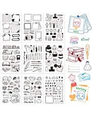 GLOBLELAND 9 Sheets Silicone Clear Stamps Seal for Card Making Decoration and DIY Scrapbooking(Calendar Planner, Clip, Book, Pen, Ink, Daily Life, Sweet Tea Time)