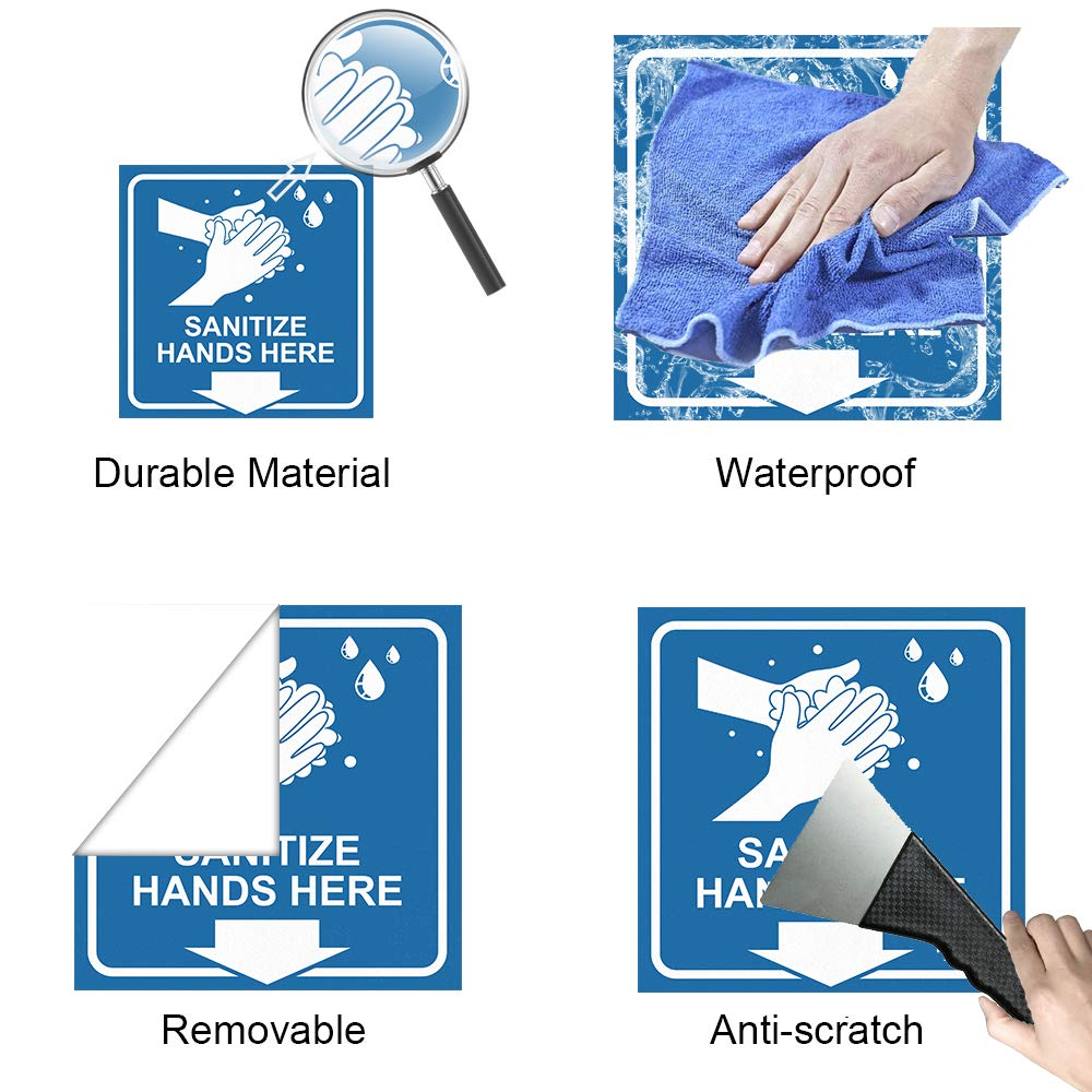 Metal 8 Pcs Sanitize Hands Here Sign 6x6 Removable and Waterproof Thick PVC Stickers for Glass Wood Blue Tiles
