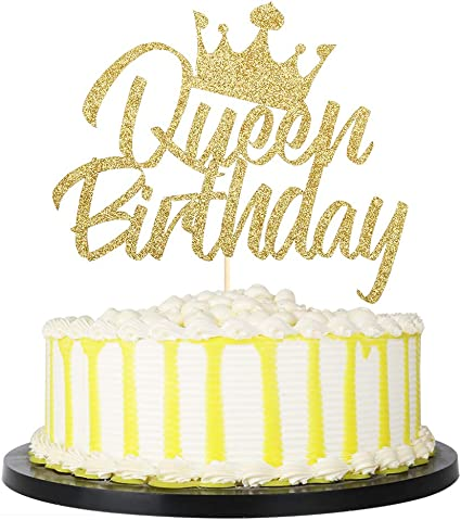 Fabulous Amazon Com Palasasa Queen Birthday Cake Topper For Girl Women Funny Birthday Cards Online Alyptdamsfinfo